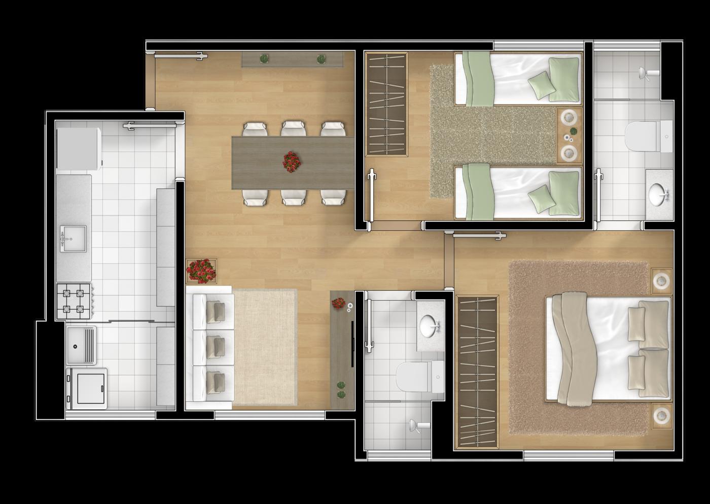 2 dormitórios sendo 1 suíte