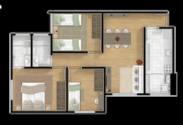 3 dormitórios sendo 1 suíte