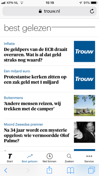 Best gelezen in dagblad Trouw