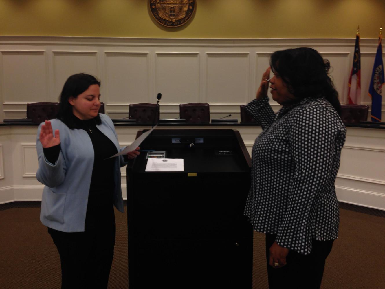 Swearing in Snellville's 1st African-American City Clerk