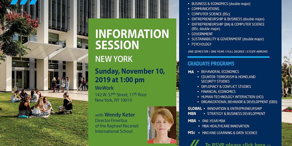 IDC Herzliya Information Session in New York
