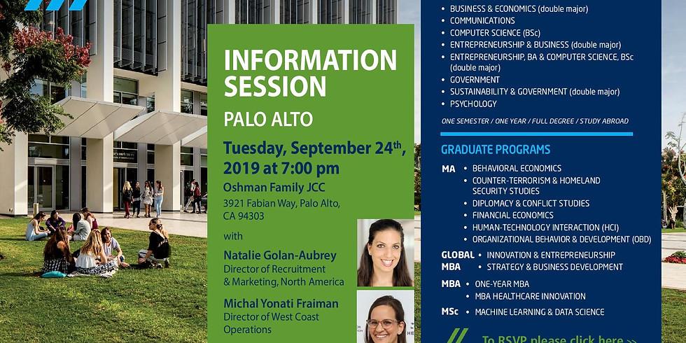 IDC Herzliya Information Session in Palo Alto