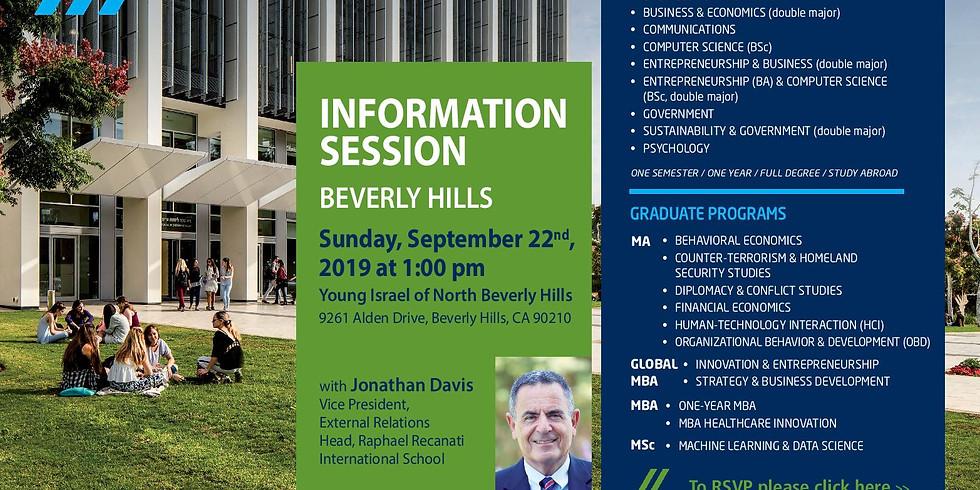 IDC Herzliya Information Session in Beverly Hills with Jonathan Davis