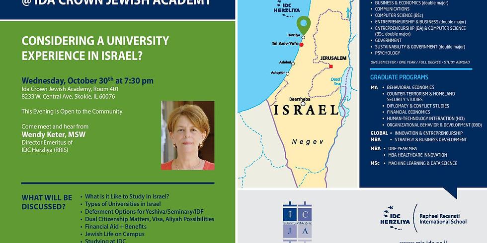 Israel University Night @ Ida Crown with Wendy Keter