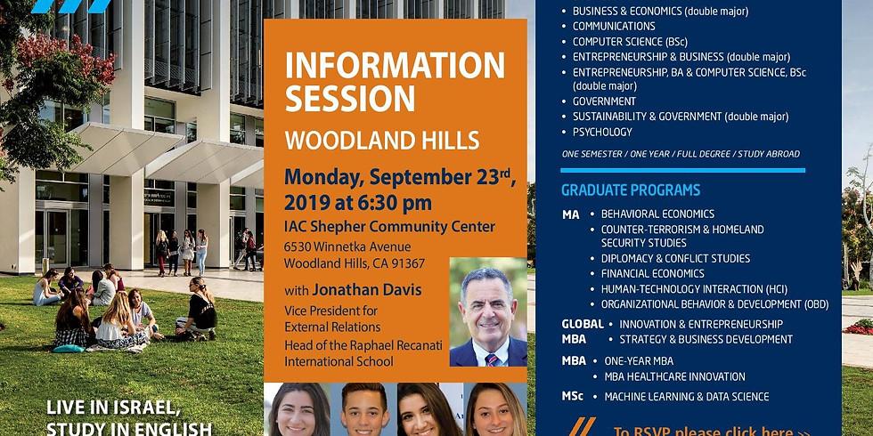 IDC Herzliya Information Session in Woodland Hills with Jonathan Davis