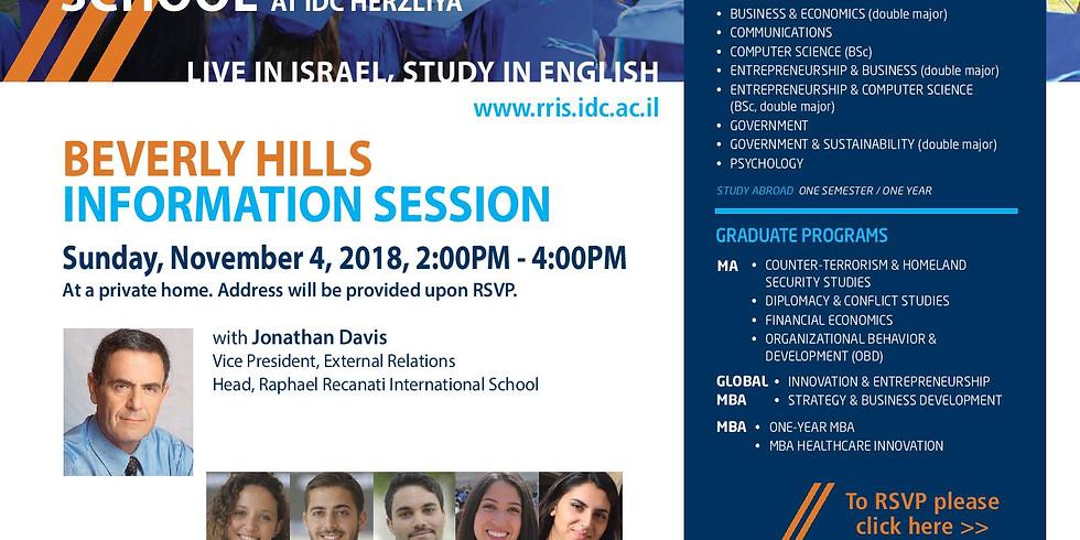 IDC Herzliya Information Session in Beverly Hills