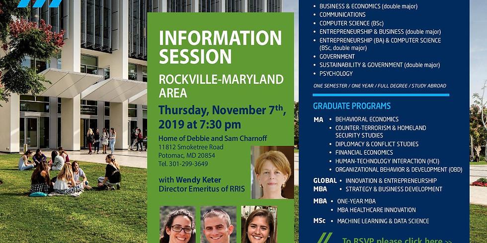 IDC Herzliya Information Session in Rockville, Maryland