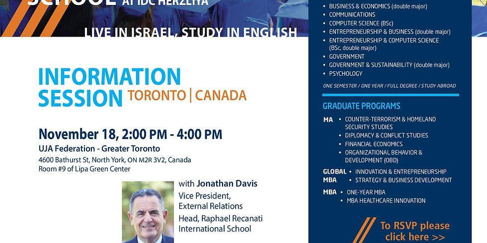 IDC Herzliya Information Session in Toronto, Canada
