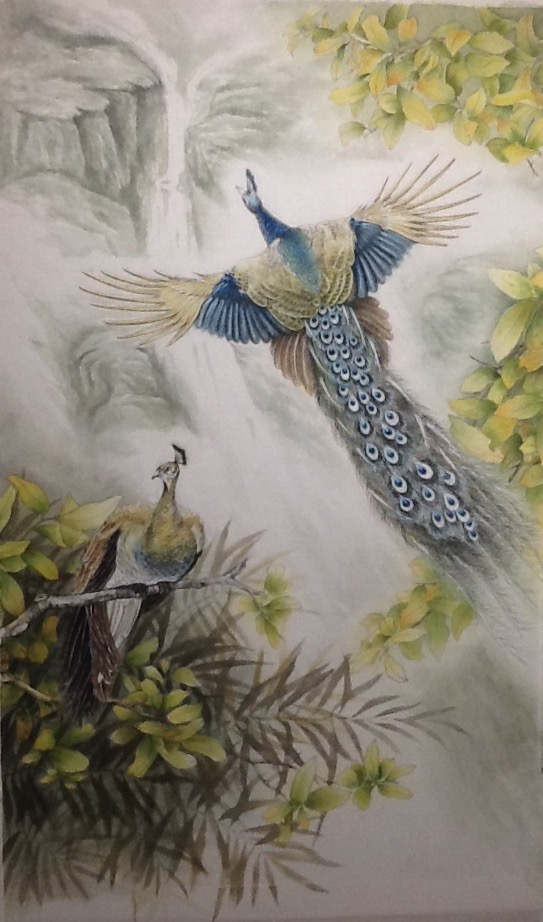 Flying_peacock_25×41_Watercolor_on_Hanj