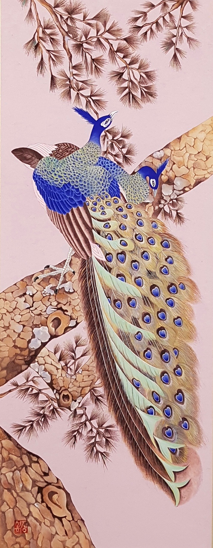 Min Hwa_Peacock_Korean water color on mu