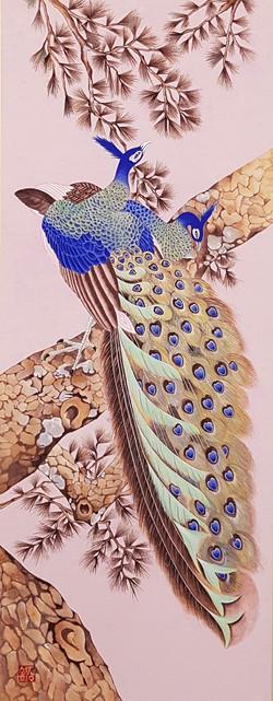 Min Hwa_Peacock_Korean water color on mu