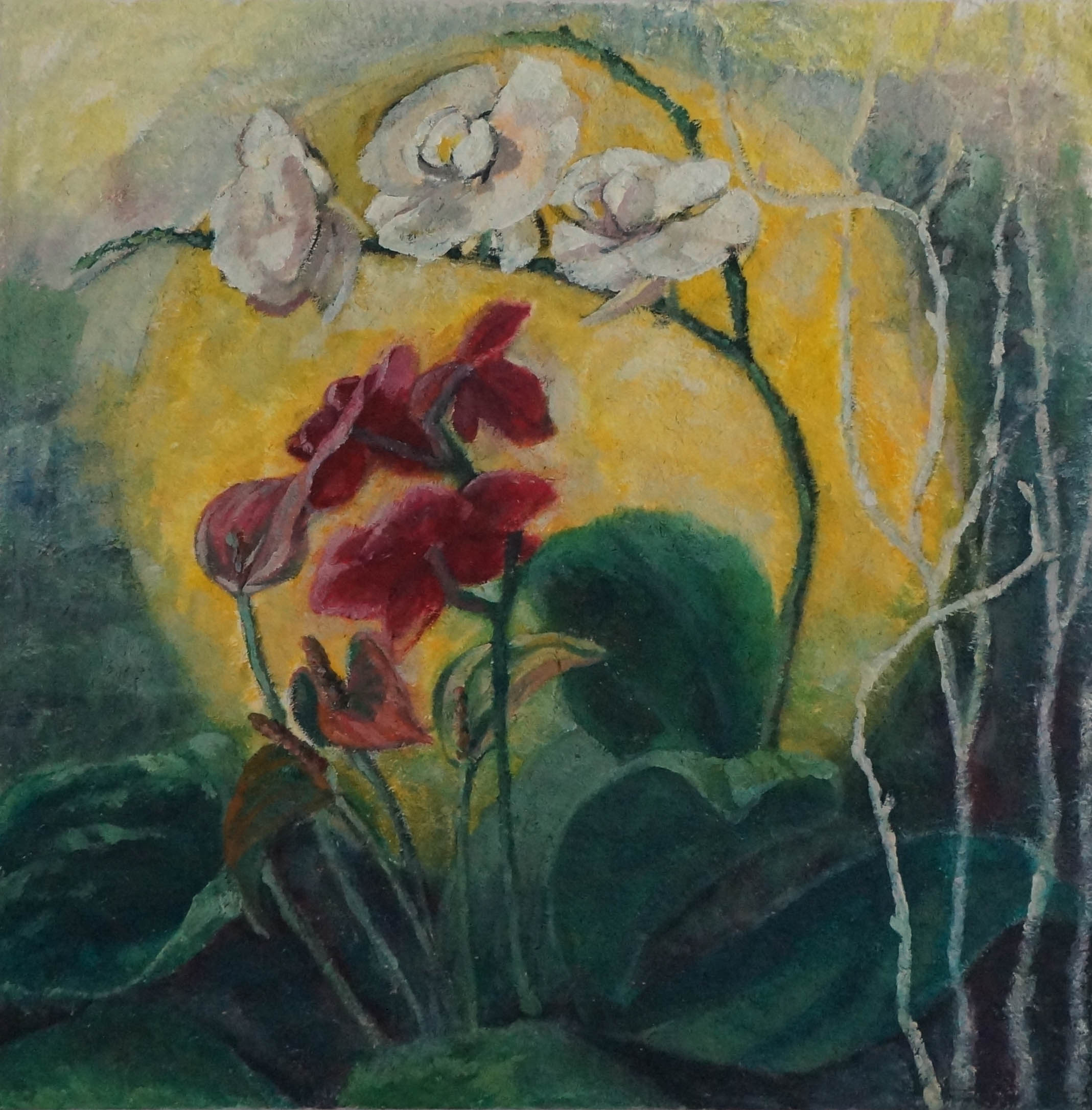 Moon and Orchid Flower20x20in.oil on mixed media on canvas.2015