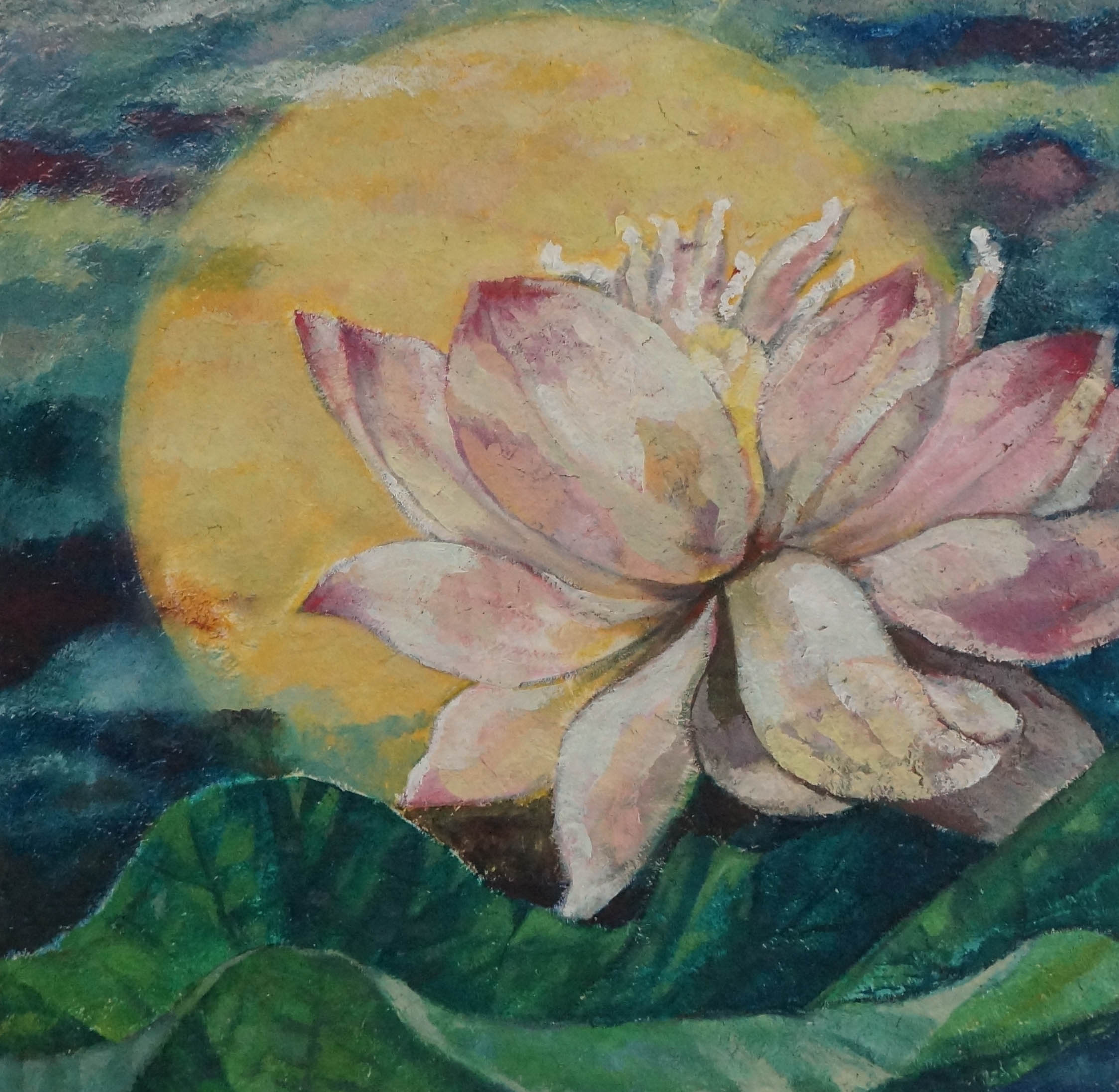 Moon and Lotus20x20in.oil on mixed media on canvas.2015