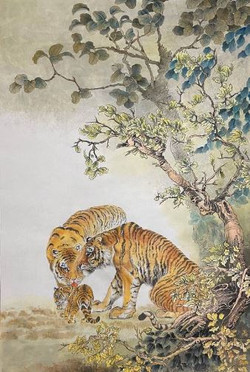 Tiger_India ink Korean water color on mu