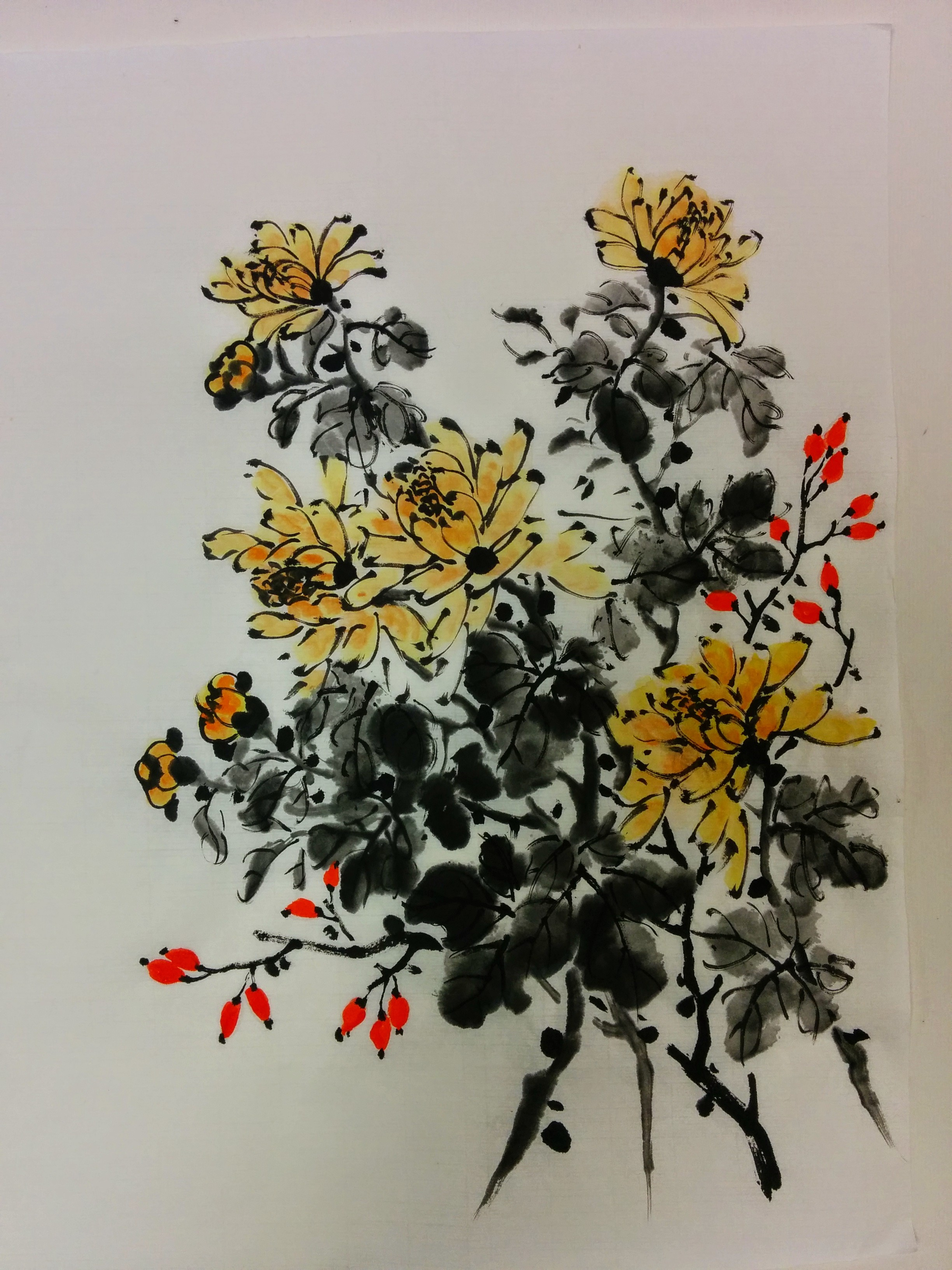 "Chrysanthemum_13""×20""_Watercolor_on"
