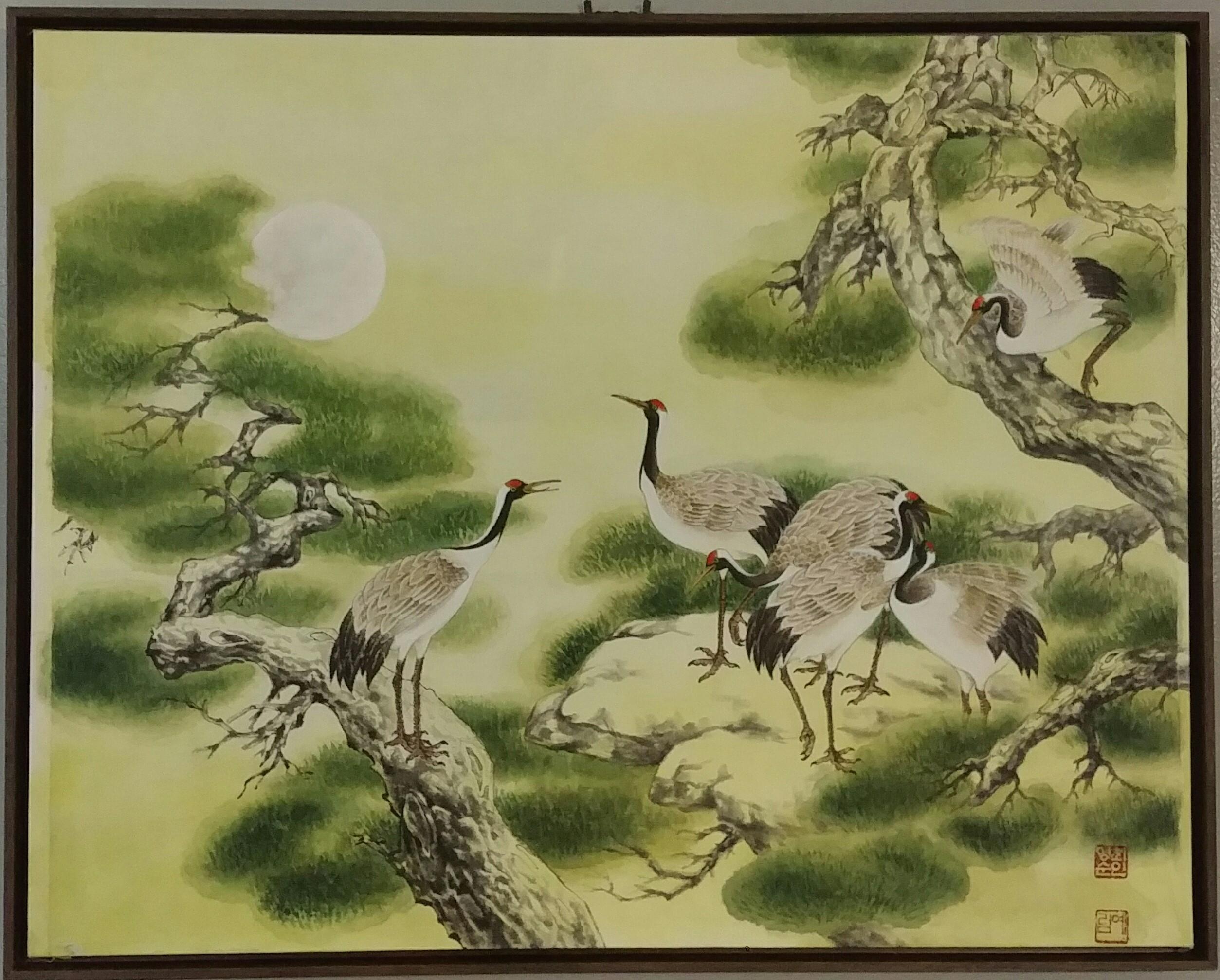 """White_crane_28""""×24""""_Watercolor_on_H"""