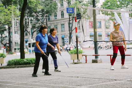 Badminton match on Le Duan street, District 1, Saigon