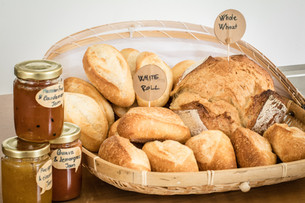 High-quality bread and jam selections