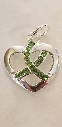 Lyme Awareness Heart Charm
