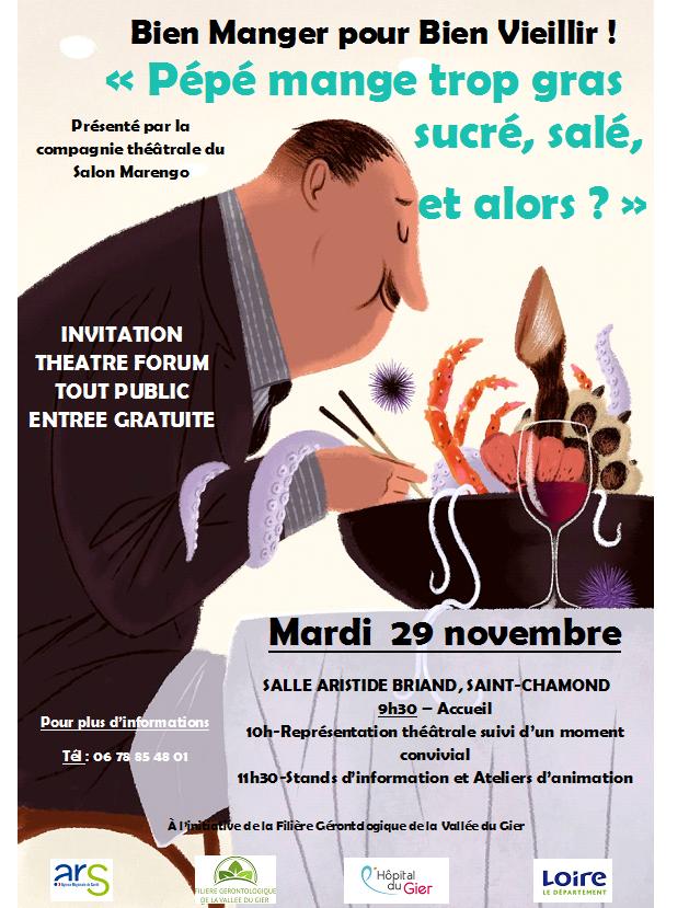 """Journée de la filière """"Bien Manger pour bien Vieillir! Théâtre forum, Mardi 29 Novembre 2016,  Salle Aristide Briand, Saint-Chamond"""