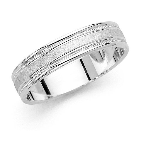 14k White Gold Men's 5-mm Satin Finish Grooved Easy Fit Wedding Band