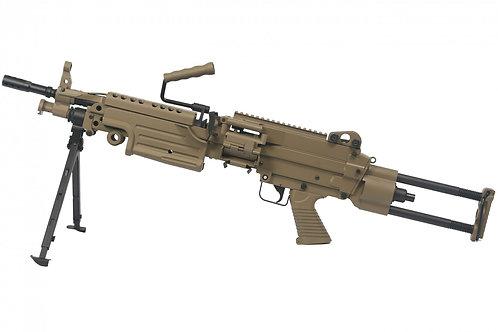 A&K FN M249 PARA Extendable Stock SAW Light Machine Gun AEG  Dark Earth