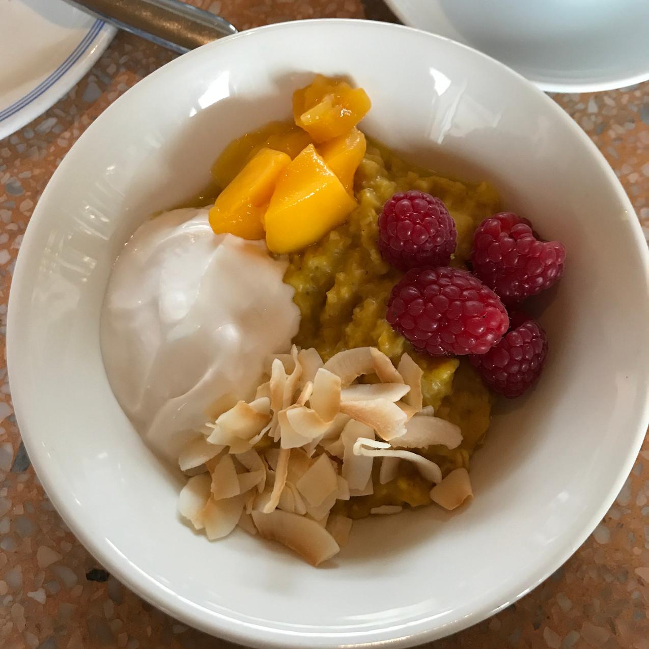 Turmeric porridge + coconut yoghurt