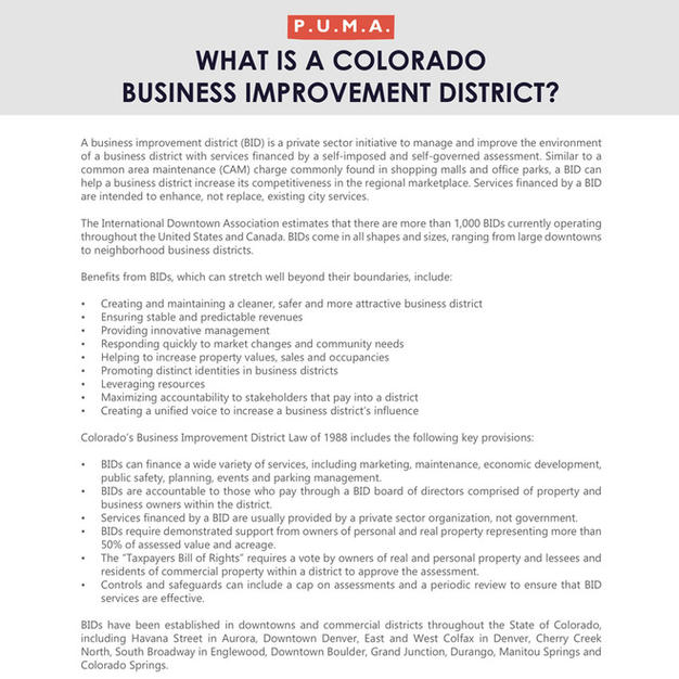 Colorado Business Improvement Districts