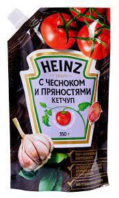 Кетчуп С чесноком и пряностями 350г  д/пак HEINZ .