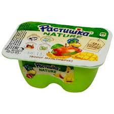 Творог с бананом / яблоком /манго (мультифрукт) ж.3.5% 95гр Растишка Данон
