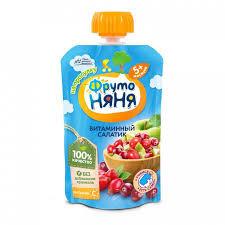 Пюре Витаминный салатик (ябл/шиповн/клюква) с 5 мес. 90гр д/пак Фрутоняня*
