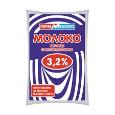 Молоко 3.2% бзмж 0.9л ПермМолоко