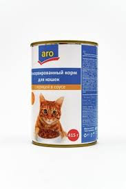 Aro корм для кошек консерв. с курицей в соусе 415г. ж/б *