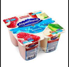 Йогуртный продукт пастер. Alpenland 2.5% бзмж 95г малина/яблоко/груша