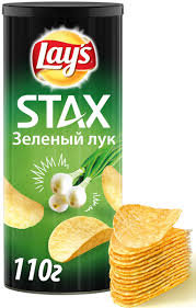 ЧИПСЫ LAYS  Стакс  Зеленый лук 140гр  *