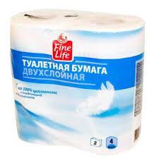 Бумага туалетная 2сл 4шт белая FL