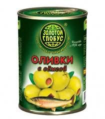 Оливки с семгой 280г ж/б Золотой глобус *