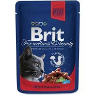 Brit PREMIUM  корм для кошек говядина/горошек 100гр