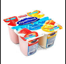 Йогуртный продукт пастер. Alpenland 2.5% бзмж 95г клубника/персик/манго