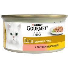 Gourmet Голд кусочки в соусе с лососем и цыпленком 85г ж/б *