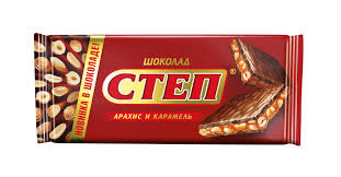 Шоколад Степ молочн. с начинкой. арахис. карамель 100гр Славянка