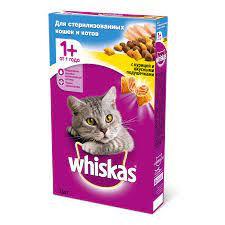 Whiskas Подушечки для стерилизованных котов и кошек (курица)350г. Россия*