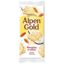 Шоколад  Alpen Gold миндаль и кокос белый шоколад. 85г