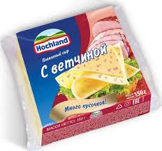 Hochland Сыр  плавл. С Ветчиной ломтики 150г