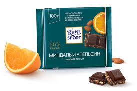 Шоколад РИТТЕР Миндаль и апельсин темный  100г