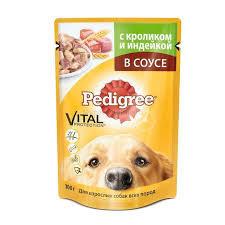 Корм для взр.собак с кроликом/индейкой  в соусе 100г Pedigree*