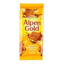 Шоколад  Alpen Gold арахис и кукурузные хлопья. 85г