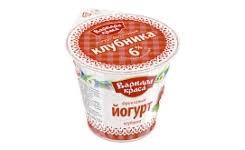 Йогурт фрукт. клубника 6% 140г.бзмж стакан Глазов