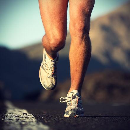 Running sport. Man runner legs and shoes