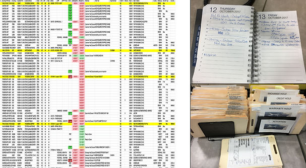 Paperwork and spreadsheets